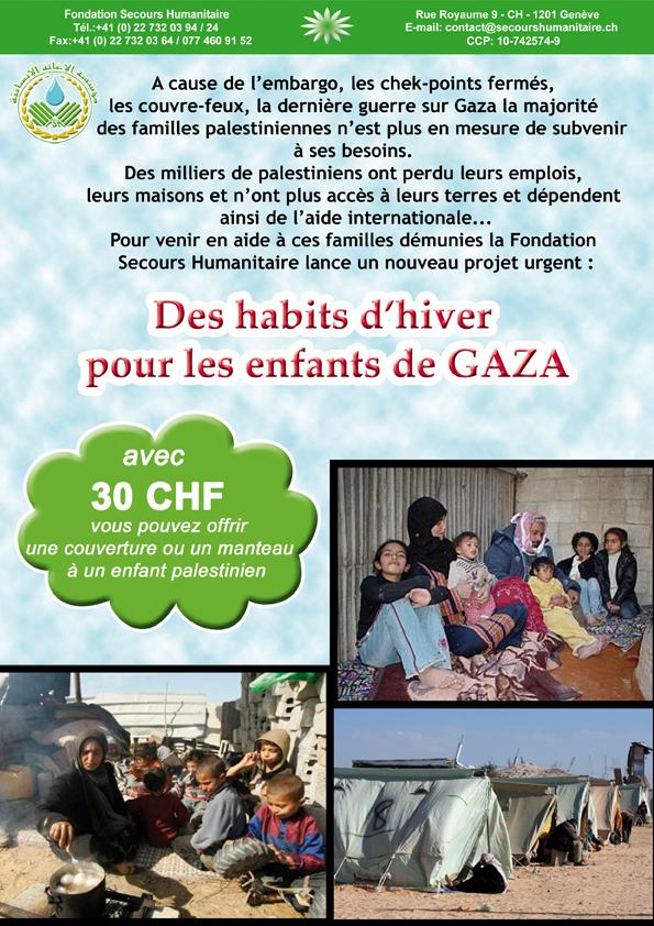 Des habits d'hiver pour les enfants de Gaza